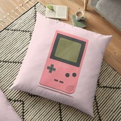 'Pink Nintendo Game Boy ' Floor Pillow by SinandTonic Game Boy, Nintendo Games, Pillow Design, Floor Pillows, Flooring, Printed, Awesome, Boys, Interior