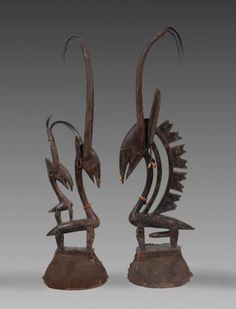 """Africa   Male and female """"tji-wara"""" dance crests from the Bamana people of Mali   Wood, vegetal fiber, metal and shells Africa People, African Sculptures, Art Populaire, Art Premier, African Artists, African Masks, West Africa, Tribal Art, Art Techniques"""