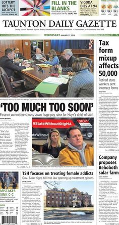 The front page of the Taunton Daily Gazette for Wednesday, Jan. 27, 2016.
