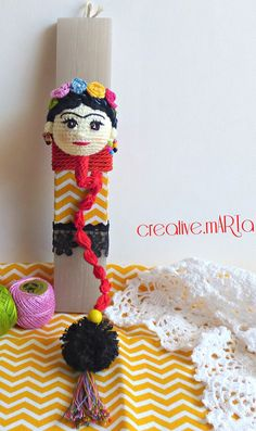Hand made Easter candle with crocheted bookmark Frida Khalo Easter Candle, Greek Easter, Candels, Diy Ideas, Crochet Necklace, Projects To Try, Felt, Handmade, Crafts