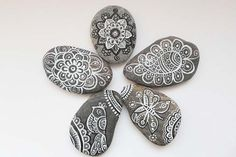 Pebble Stone Art Hand painted Stones Paisley Art by DHANAjewelry