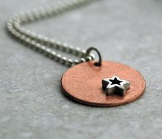 ...cuz she's a star <3 :)     ~Handmade Star Necklace on Copper  Sterling Silver by plyeffects, $54.00