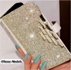 Worth *18* Cool Points! iPhone 6 Plus, 6, 5/5S, 5C, 4/4S -Glittering Gems Wallet Clutch Case Item 1637 - Specialty: Absolutely elegant, shimmering evening clutch wallet case loaded with bling Features