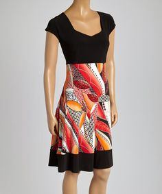 Another great find on #zulily! Orange & Black Autumn Cap-Sleeve Dress - Women #zulilyfinds