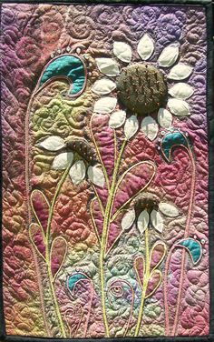 Modern Art Quilt Wall Hanging Surface Design - looks like a hand-dyed background and flower centers. Small Quilts, Mini Quilts, Sunflower Quilts, Quilt Modernen, Landscape Quilts, Quilted Wall Hangings, Textiles, Free Motion Quilting, Applique Quilts