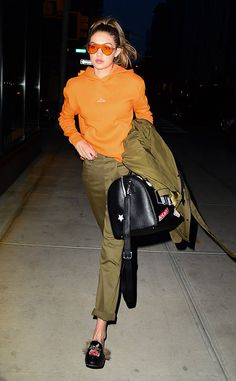 Gigi Hadid from The Big Picture: Today's Hot Photos Bright delight! The top model is seen wearing orange sunglasses and a matching sweatshirt in New York City.