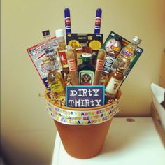 """The """"dirty 30"""" bouquet I made for my husbands 30th bday! Andrearzina@hotmail.com"""