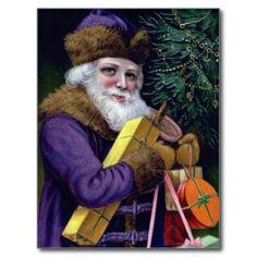 Vintage Santa Claus Christmas Postcard - Purple