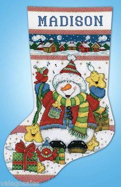 Design Works Counted #crossstitch #SNOWMAN FUN #Stocking ♥ #ebay #sale #Christmas #holiday #gift #home #interior #walldecor #DIY #project #handcraft #handmade #needlework #decor #stitching #personalize #create