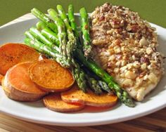 Almond-Crusted Chicken with Sweet Potatoes and Asparagus Recipe | The Daily Meal