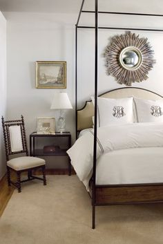 clean + fresh inspiration // mirror // bed  ♥ // spindle chair // bedding