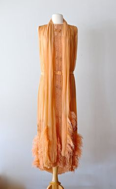Rare 1920's Beaded Flapper Dress With Ostrich by xtabayvintage
