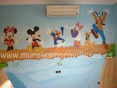Murales infantiles de Mickey y Donald pintados en toda España. Sobre paredes lisas o en gotelé. Muchas ideas y fotos en www.muralesmaravillosos.es