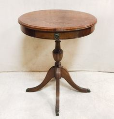 Antique Georgian Style Round Side Table With Drawer $195