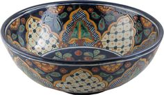 Mexican Tile - San Miguel Round Vessel Above-the-Counter Bathroom Mexican Talavera Lavatory Sink