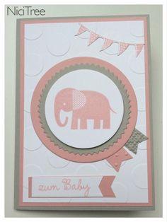 Karte zur Geburt, Stampin Up!, Zoo Babies, Itty Bitty Banners, Wir feiern