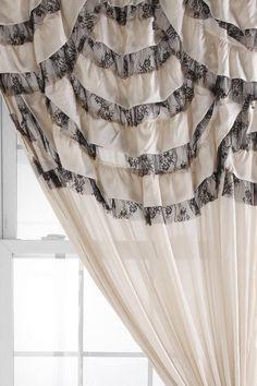 Black and White Ruffle Curtain