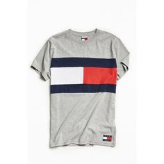 Tommy Jeans For UO '90s Colorblock Tee ($50) ❤ liked on Polyvore featuring men's fashion, men's clothing, men's shirts, men's t-shirts, tommy hilfiger mens shirts, mens american flag t shirt, mens american flag shirt, men's color block shirt and j crew mens shirts