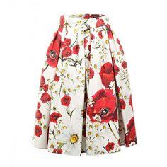 Dolce & Gabbana Multicolour Cotton & Silk Blend Daisy & Poppy Print... found on Polyvore featuring skirts, high-waist skirt, white high waisted skirt, multi colored skirt, daisy skirt and dolce gabbana skirt