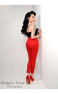Cigarette Pants in Red Stretch Twill Denim - Customer Favorites - Clothing   2a032b6da9