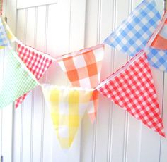 Vintage Gingham Sunshine Yellow, Red, Summer Green, Orange and Blue Birthday Party Banner, Bunting, Pennant Flags 9 Feet {etsy}