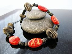 Statement Red Sponge Coral Necklace Orange Beaded by MsBsDesigns, $72.00