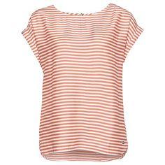 lässiges Streifen-Shirt für Frauen (gestreift, kurzärmlig mit weitem Rundhals-Ausschnitt und kurzem Reißverschluss hinten zu schließen) - TOM TAILOR