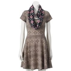 Wallflower Skater Dress & Infinity Scarf - Juniors