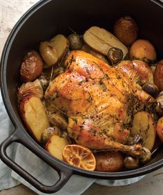 The classic chicken pot roast, via @tasteofthesouth. Made in crock-pot (4-5 on high, 7-8 on low. Very easy and yummy. dl