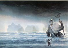 Tuor and the lord of the waters, Ulmo.  A depiction of a legendary character, Tuor, and one of the Valar (demi-gods), Ulmo, mentioned in some of J.R.R. Tolkien's mythopoeic works set in Middle Earth, such as The Silmarillion, though I don't think they are mentioned in Tolkien's well-known The Lord of the Rings.