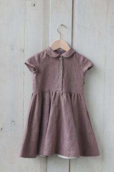 Cacao Linen Dress Kids Fashion Hand Made Children by SondeflorShop