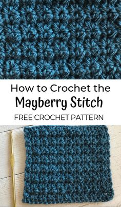 How to Crochet the Mayberry Stitch - - crochet stitches Crochet Loop, Crochet Waffle Stitch, Crochet Stitches Free, Crochet Stitches For Blankets, Crochet Motifs, Tunisian Crochet, Crochet Basics, Crochet Blanket Patterns, Learn To Crochet
