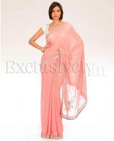 Sequin Embellished Peach Pink Sari