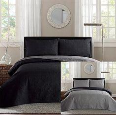 New Queen / Full Bed Luxury 3-piece Black / Grey Reversible Bedspread Coverlet…