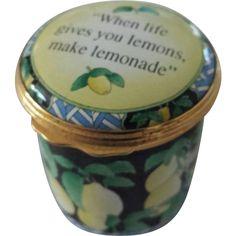 Halcyon Days Small Round Black Enamel Trinket Box with Lemons – Neiman Marcus Exclusive