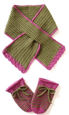 free crochet pattern easy hat and keyhole scarf from the Crochet Scarves And Hats Patterns