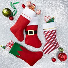 Shop for Christmas stockings and stuffers: Keepsake stockings for the kids, bulk packs of mini stockings for holiday giveaways, and cute favors and toys to stuff in the stockings you buy. Mini Christmas Stockings, Mini Stockings, Red Christmas, Christmas Shopping, Christmas Gifts, Holiday, Felt Stocking, Christmas Party Decorations, Merry Christmas And Happy New Year