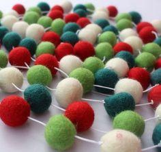 Felt Ball Garland Christmas Garland Pom Pom by Crafttasticparties