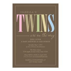 5 x 7 Twins   Baby Shower Invite.  $2.05
