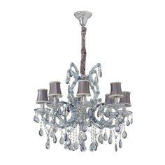 Lampadario da soffitto magnifico e lussuoso colore grigio e trasparente cristallo azzuro metallo vetro soffiato trasparente paralume tessuto elegante reale in stile barocco classico 8 bracci 8*60W E14 230V-escl. EURO 1.704,91