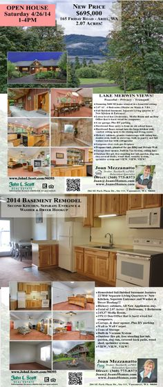 Sat OPEN House! Real Estate For Sale: Now $695,000-4 Bedroom, 3.5 Bath, 5400 SF Stunning Two Level Lake Merwin View Home w/Full Finished Bsmnt on 2.07 Acres in Ariel, WA! Thanks for sharing Joan Mezzanatto, John L. Scott Vancouver Office!   #RealEstate #ForSaleRealEstate #RealEstateForSale #ArielRealEstate #RealEstateAriel #OpenHouseRealEstate #LakeMerwinViewRealEstate #TwoStoryRealEstate #StunningViewHome #HUGEReduction #FullFinishedBasement #AcreageRealEstate #RealEstateAcreage