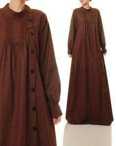 Brown Linen Dress Shirtdress Abaya Maxi Dress Brown Maxi plus size Cotton Brown Dress Button Up Maxi Dress, Linen Shirt Dress, Maxi Dress With Sleeves, Dress Plus Size, Plus Size Maxi Dresses, Abaya Designs, Maxi Robes, Long Sleeve Maxi, Mode Hijab