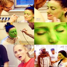 "This is Idina's first time being greenified. The look on Kristin's face is priceless! Kristin: ""Oh my gosh! I'm thinking I want to be green."" Idina: ""Let's go freak everybody out."""