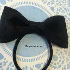 ハンドメイド♡ シンプルリボンヘアゴム♡ ブラック  http://s.ameblo.jp/bouquet-de-coeur/  Handmade black ribbon hair accessory
