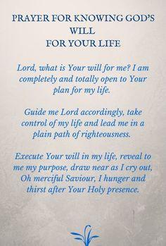 Prayer for God's will More