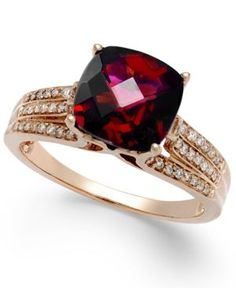 Effy Rhodolite Garnet (3-1/4 ct. t.w.) and Diamond (1/5 ct. t.w.) Ring in 14k Rose Gold - Red