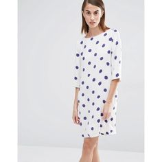 Selected Fria Polka Dot 3/4 Sleeve Dress ($146) ❤ liked on Polyvore featuring dresses, multi, crew neck dress, 3/4 sleeve dress, three quarter sleeve dress, dot print dress and dot dress
