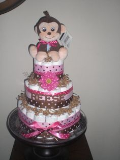 Monkey Girl Diaper Cake Baby Shower Centerpieces Gift other sizes too Baby Shower Diapers, Baby Shower Cakes, Baby Shower Parties, Baby Party, Baby Boy Shower, Baby Shower Gifts, Baby Gifts, Baby Shower Centerpieces, Baby Shower Decorations