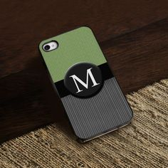 Personalized Black Trimmed iPhone Cover – 1 initial – Personalized Gifts