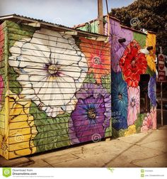 Floral Street Art Decorating A Venice Beach Business Editorial ...